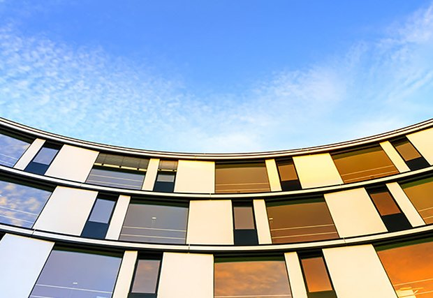 curved building sky view 620