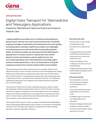 Digital Video Transport for Telemedicine and Telesurgery