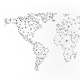 Black dotted map on white background
