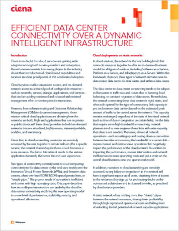 Efficient Data Center Connectivity Over a Dynamic Intelligent Infrastructure