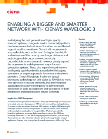 Enabling a Bigger and Smarter Network with Ciena's WaveLogic 3