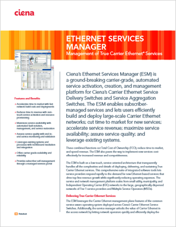 Ethernet Services Manager product data sheet