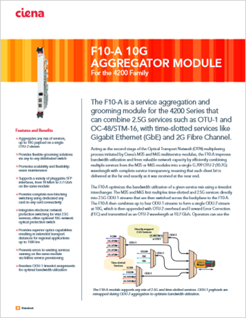 F10-A 10G Aggregator Module product data sheet