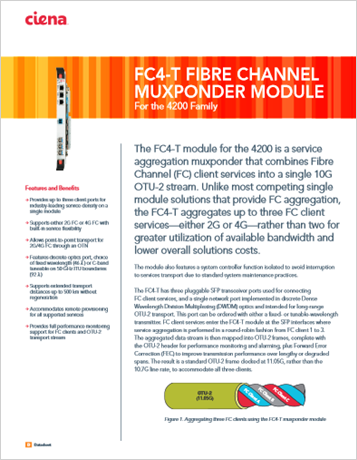 FC4-T Fibre Channel Muxponder Module product data sheet