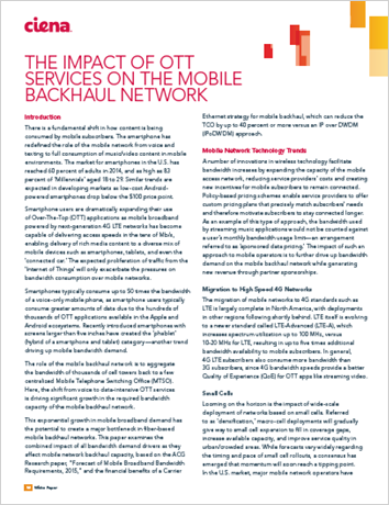 The Impact of OTT Services on the Mobile Backhaul Network