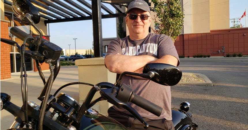 Ciena's John van Gulik on his motor bike