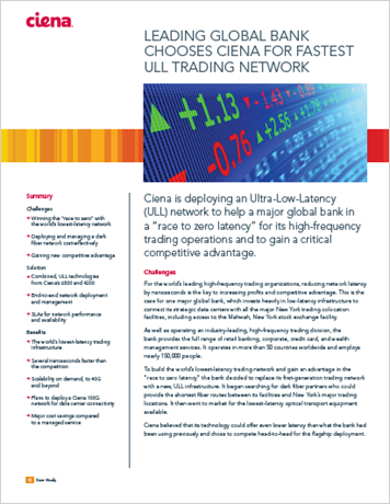 Global Bank Chooses Ciena for Fastest Ultra-Low-Latency Trading Network