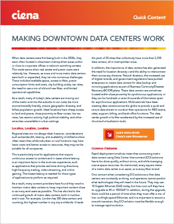 Making Downtown Data Centers Work
