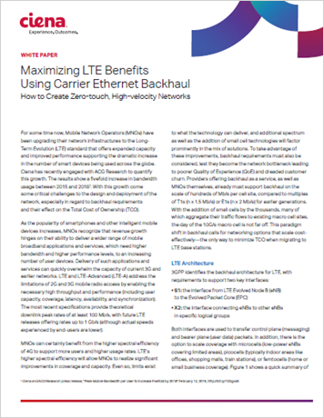 Maximizing LTE Benefits Using Carrier Ethernet Backhaul