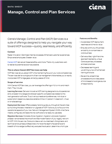 Manage, Control and Plan Services data sheet thumbnail