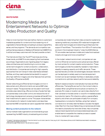 Modernizing Media & Entertainment Networks to Optimize Video Production and Quality