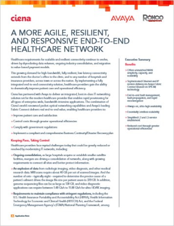 A More Agile, Resilient, and Responsive End-to-End Healthcare Network