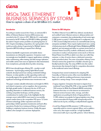MSOs Take Ethernet Business Services By Storm
