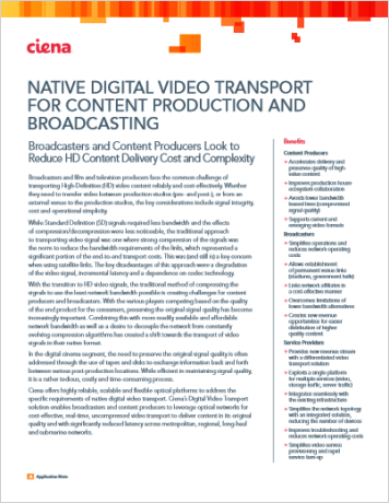 Native Digital Video Transport for Content Production and Broadcasting
