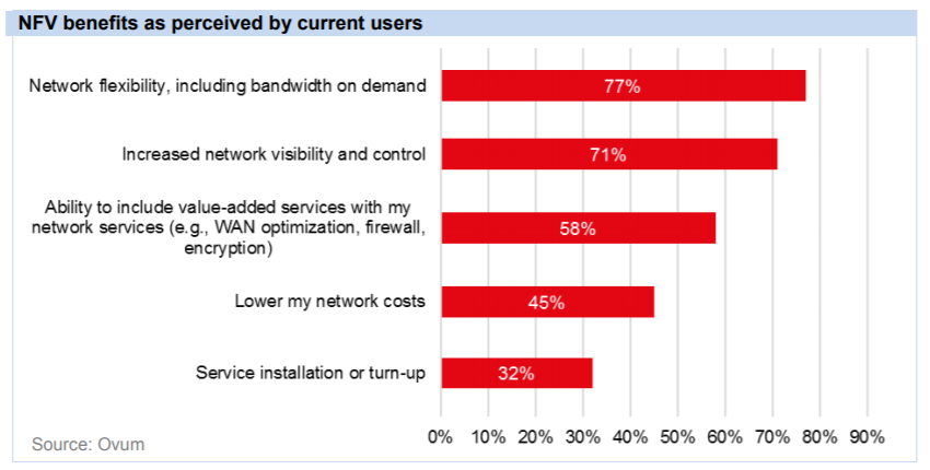 NFV perceived benefits by current users graph