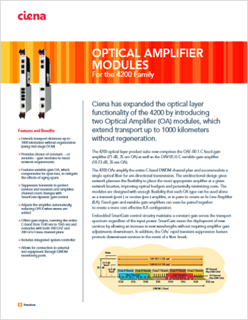 Optical Amplifier Modules product data sheet