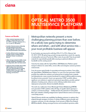 Optical Metro 3500 Multiservice Platform product data sheet