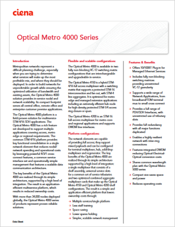 Optical Metro 4000 Series product data sheet