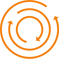 Orange circle with arrows