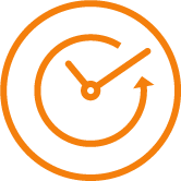 Orange clock with arrows
