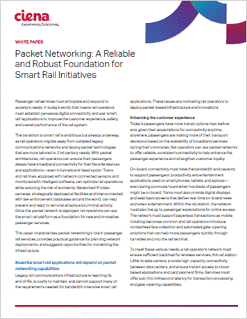 Packet Networking: A Reliable  and Robust Foundation for  Smart Rail Initiatives