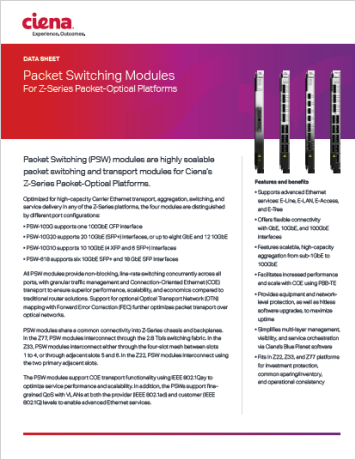 Packet Switching Modules For Z-Series Packet-Optical Platforms