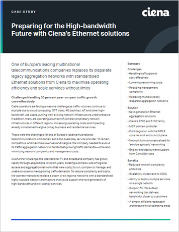 Preparing for the High-bandwidth Future with Ciena's Ethernet Solutions case study thumbnail