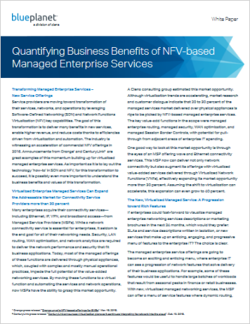 Quantifying the Business Benefits of NFV based Managed Enterprise Services