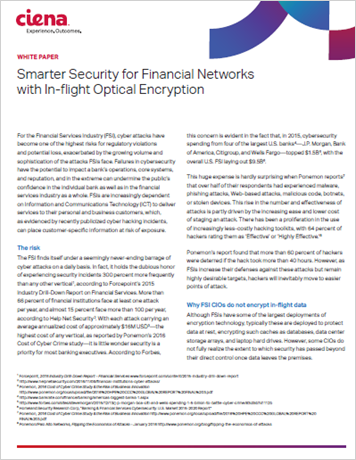 Smarter Security for Financial Networks with In-flight Optical Encryption