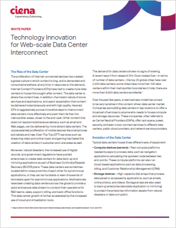 Technology Innovation for Web scale Data Center Interconnect