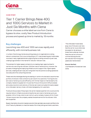 Tier 1 Carrier Brings New 40G and 100G Services to Market in Just Six Months with Ciena case study thumbnail