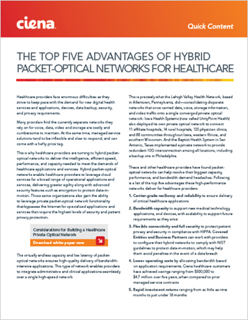 The Top Five Advantages of Packet-Optical Networks for Healthcare