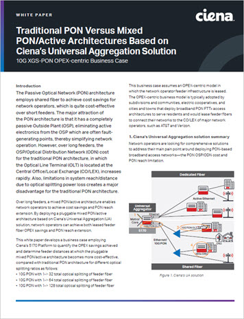 Traditional PON versus Mixed PON Active Architectures white paper preview