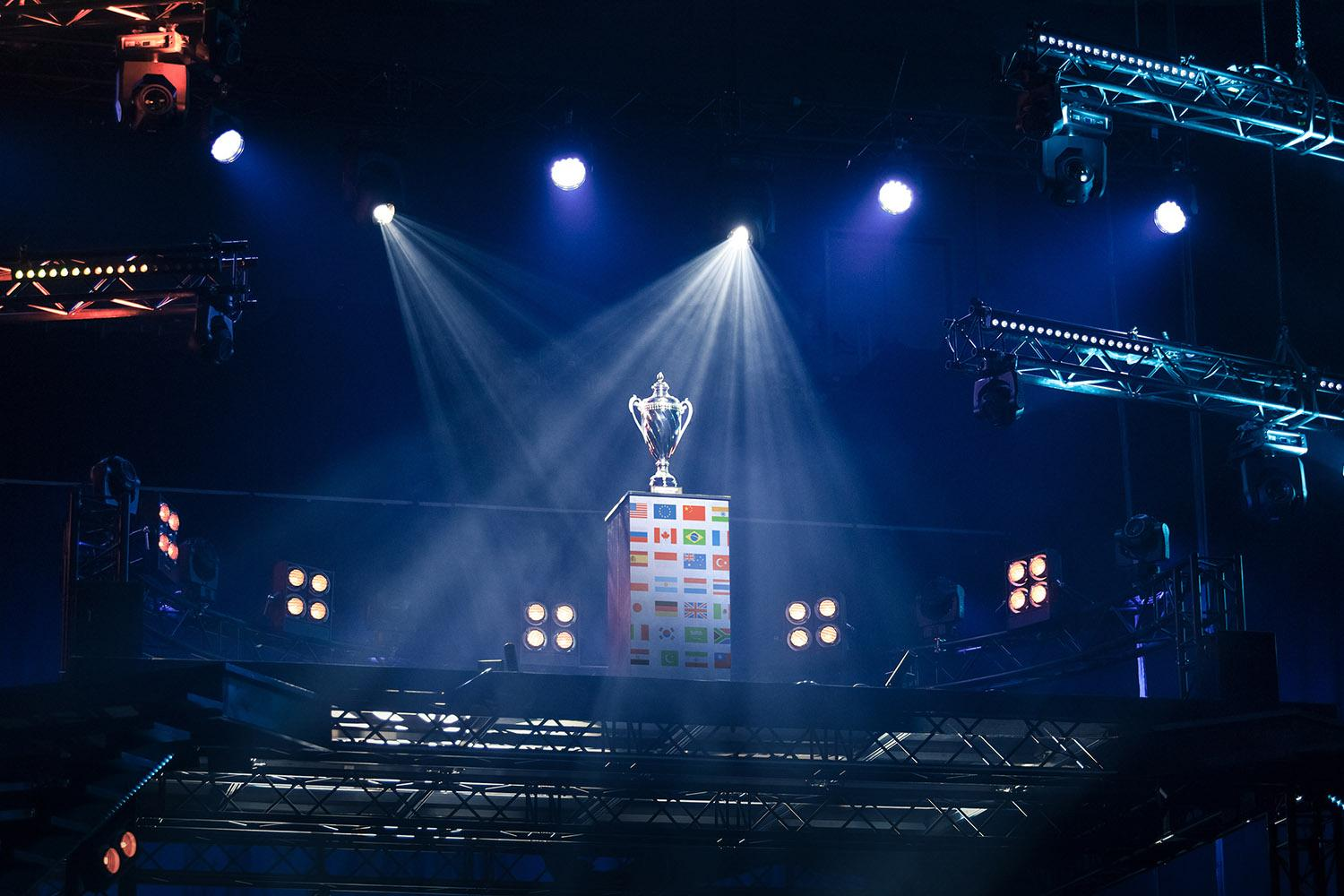 trophy with lights