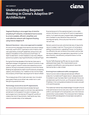 Understanding Segment Routing in Ciena's Adaptive IP Architecture infobrief thumbnail