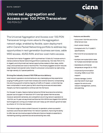Universal Aggregation and Access over 10G PON Transceiver datasheet thumbnail