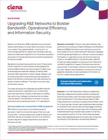 Upgrading R&E Networks to Bolster Bandwidth, Operational Efficiency, and Information Security