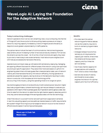 WaveLogic Ai: Laying the Foundation for the Autonomous Optical Network application note thumbnail