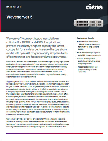 Waveserver 5 data sheet preview