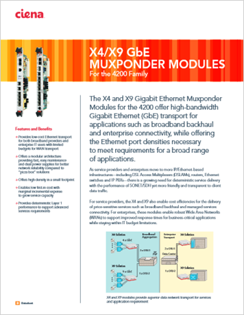 X4/X9 GbE Muxponder Modules product data sheet