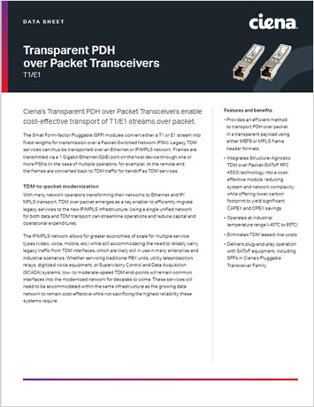 Thumbnail image for Transparent PDH over Packet Transceivers T1/E1 data sheet