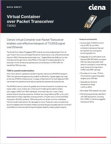 Virtual Container over Packet Transceiver T3/DS3 data sheet preview