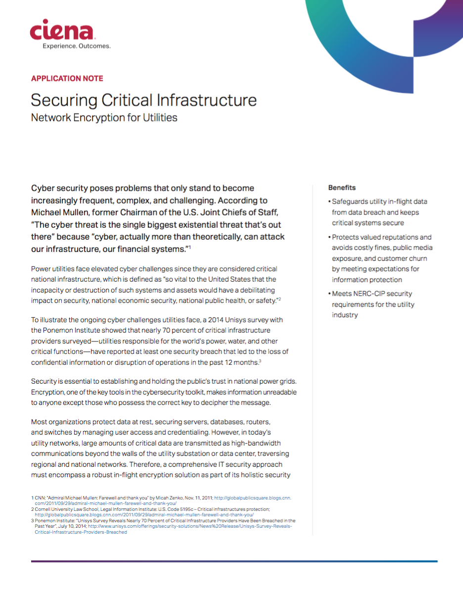 Securing Critical Infrastructure - Ciena