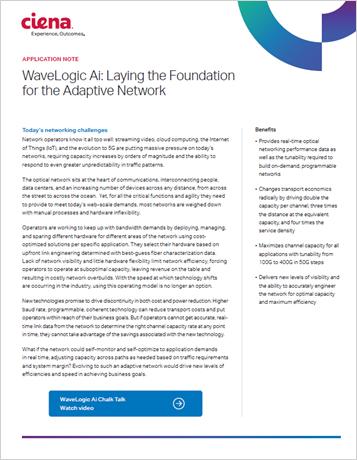 WaveLogic Ai: Laying the Foundation for the Autonomous Optical Network