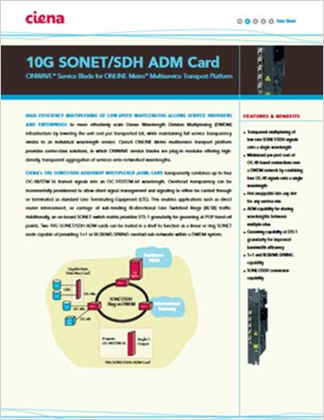 10G SONET/SDH ADM Card data sheet