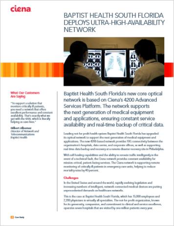 Baptist Health South Florida Deploys Ultra-high-availability Network