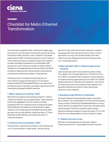 Checklist for Metro Ethernet Transformation