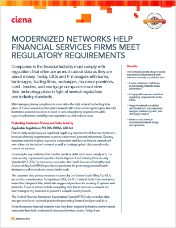 Modernized Networks Help Financial Services Firms Meet Regulatory Requirements