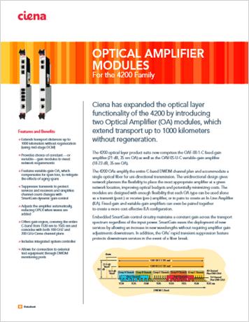 Optical Amplifier Modules product data sheet
