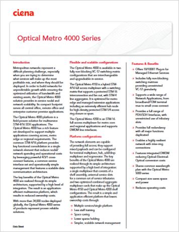 Optical Metro 4000 Series product data sheet
